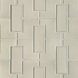 "Fretwork Pattern Decorative Field - Dimensions: 18"" x 20"". Ceramic. Available in Blonde, Ebony, Ecru, Mica, and Mica Matte."