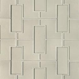 """Fretwork Pattern Decorative Field - Dimensions: 18"""" x 20"""". Ceramic. Available in Blonde, Ebony, Ecru, Mica, and Mica Matte."""