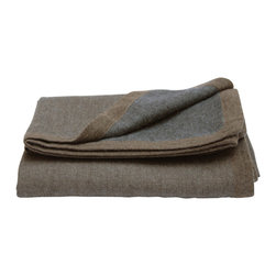 "Area Inc. - Hugo Revers Brown and Gray Throw Blanket, 50""x70"" - Area Inc. - Drape your couch, arm chairs or bed with this chic Hugo Revers Brown and Gray Throw Blanket. Featuring knitted edges and neutral colors, this reversible blanket is simple and sophisticated. Made from 100% baby alpaca fiber, the blanket is irresistibly soft and cozy, but still light enough to use in warm weather seasons. Dry clean only."