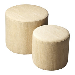 Butler Furniture - Nesting Ottomans Ivory - Crafted from poplar solids and upholstered in a Gold Damask fabric featuring a durable Dacron blend, these ottomans are as stylish as they are functional and designed to complement virtually any decor. To save space the smaller piece can be stored inside the larger one.