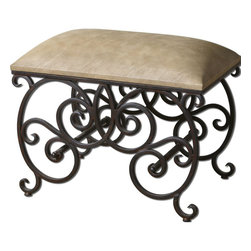 Uttermost - Anjali Forged Metal Small Bench - Ornate, Forged Metal In Dark Rusted Bronze Finish With Cushioned Seat In Light Buff Polyurethane.