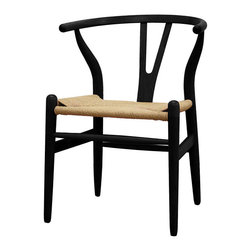 Wishbone Black Wood Y Chair - The wishbone chair is a favorite of high-end designers. Try it on in black for a new version of this timeless classic. Great as a dining chair, or maybe one for a desk chair. Super lines and super comfy.