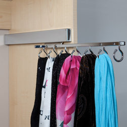 """Deluxe Sliding Scarf Rack - Knape & Vogt's seven loop hooks creates order to easily entangle fashion scarves. The sleek fluid flowing slide allows accessing accessories simple. Measures 14"""" and available in Chrome, Satin Nickel and Oil Rubbed Bronze."""