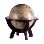 IMAX Worldwide Home - Globe on Stand - Test your geography skills with the desk globe on wood stand. Desk Accessories. 11 in. H x 10.5 in. D. 70% MDF, 25% Plastic,5% Paper