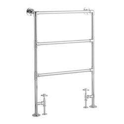 """Hudson Reed - Countess Traditional Heated Towel Warmer Rail 36.4"""" x 24.6"""" With Chrome Valves - Constructed from durable, non-ferrous brass, with a high quality chrome finish, this towel warmer features three horizontal bars, giving an impressive heat output of 253 Watts. 10 year guarantee."""