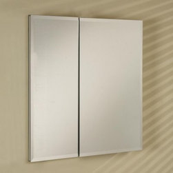 Afina Broadway Surface Mount Double Door Medicine Cabinet - 30W x 4D x 30H in. - The Afina Broadway Surface Mount Double Door Medicine Cabinet - 30W x 4D x 30H in. is truly a show-stopper. This piece made from satin anodized aluminum for strength and rust-resistance features your choice of three mirror frame designs: a beveled or polished edge or an aluminum trim with plain mirrors. Also mirrored are the inside doors and inside back for a distinctly more spacious feel than your run-of-the-mill medicine cabinet. Featured are six (six!) adjustable glass shelves for all manner of bathroom items. Both doors boast European hinges concealed for a seamless appearance. This piece may be recess or surface mounted. This cabinet measures 30W x 4D x 30H inches. The approximate wall opening dimensions are 29.375W x 4D x 29.375H inches.About AfinaAfina Corporation is a manufacturer and importer of fine bath cabinetry lighting fixtures and decorative wall mirrors. Afina products are available in an extensive palette of colors and decorative styles to reflect the trends of a new millennium. Based in Paterson N.J. Afina is committed to providing fine products that will be an integral part of your unique bath environment.