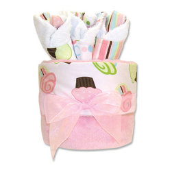 "Trend Lab - Gift Cake - Cupcake Blanket - Trend Lab's Gift Cake is the perfect shower centerpiece and a practical gift for any mom to be. Gift set contains one blanket and three bibs. Blanket features delicious cupcakes with pink, green and blue frosting and chocolate accents on a crisp white cotton background with soft pink velour on the reverse. Bibs each have fun, modern printed cotton on the front with terry on the back. Bib patterns include: pink, blue and green cupcake print, pink, blue and green open circles dot print and pink, blue, green, white and brown stripe print. Blanket measures 30"" x 40"" and bibs 9"" x 13"". Blanket is wrapped around all three bibs to resemble a cake with topper and packaged in clear cellophane with ribbon and gift tag."