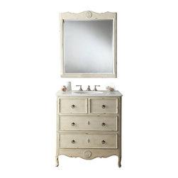 "Benton Collection - 34"" Cottage Look Daleville Bathroom Sink Vanity W/Matching Mirror - Hf081W - Dimensions: 34 x 21 x 35"" H"