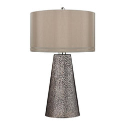 Joshua Marshal - One Light Heavy Metal Mercury Cappuccino, Faux Silk Shade Table Lamp - One Light Heavy Metal Mercury Cappuccino, Faux Silk Shade Table Lamp
