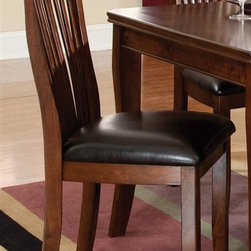 Standard Furniture - Wood Back Side Chair in Sienna Brown Finish - Set of 2. Knock-down construction. Upholstered chair seats provide comfort and design appeal. Surfaces clean easily with a soft cloth. Quality veneers over wood products and select used throughout. May contain some plastic parts. Aged vintage Sienna Brown finish. Seat height: 20 in.. Chair height: 40 in.. Chair weight: 42 lbs.Regency features unique simplicity coupled with an updated design blend making it the perfect complement to your home.