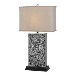 "Lamps Plus - Contemporary Horizon Holes Hand-Crafted Silver Table Lamp - The Holes hand-crafted contemporary lamp gets its name from the textural circles on its rectangular base finished in silver and black. A clean rectangular beige linen shade sits on top. Perfect for a living room bedroom or entryway or anywhere you need a bit of modern pizzazz. This lamp is hand-crafted by artisans so two two will be exactly alike. Resin construction. Silver and black textured finish. Beige linen shade. Takes one 100 watt bulb (not included). 33 1/2"" high. Shade is 18"" wide 7"" deep and 12 1/2"" high.  Resin construction.   Silver and black textured finish.   Beige linen shade.   Takes one 100 watt bulb (not included).   33 1/2"" high.   Shade is 18"" wide 7"" deep and 12 1/2"" high."