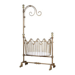 Corsican - Corsican Dynasty Cradle - 0642-101 - Shop for Cribs from Hayneedle.com! Your little one may not be the head of his own dynasty but his cradle will sure look like it! Get the incredible Corsican Dynasty Cradle. This stunning cradle is made of hand-forged wrought iron with genuine brass. The cradle attaches to the stand with hooks so you can rock your baby back to sleep without picking him up. The stand reaches a soaring height of 82 inches and features delicate curls for hanging a drape or a mobile. The rounded slats are accented where they meet the side rails which are forged in a smooth wave shape. You can choose from several finishes all of which are hand-applied by skilled craftsmen dedicated to quality. Note: This item can only be shipped within the 48 contiguous states.JPMA certified (requirements developed and published by ASTM International).About CorsicanWith a commitment to quality and attention to detail Corsican has been manufacturing iron furniture and accessories for more than 40 years. Their skilled craftsmen uphold a tradition of handcrafted beauty personal care and attention to detail.