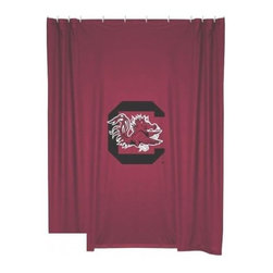 Sports Coverage - South Carolina Gamecocks Shower Curtain - This 72 x 72 officially licensed South Carolina University Gamecocks shower curtain of jersey material with logo is perfect for any bathroom in need of a little extra team spirit. It weighs approximately one pound and is screen printed with Plastisol. Shower Curtain is 100% Polyester Jersey