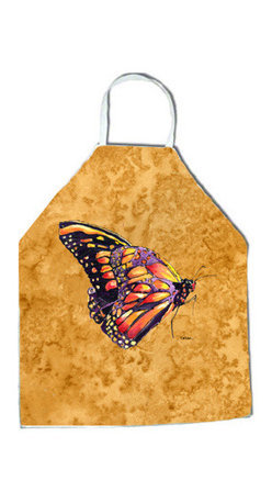 """Caroline's Treasures - Butterfly on Gold Apron - Apron, Bib Style, 27""""H x 31""""W; 100% Ultra Spun Poly, White, braided nylon tie straps, sewn cloth neckband. These bib style aprons are not just for cooking - they are also great for cleaning, gardening, art projects, and other activities, too!"""