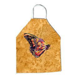 "Caroline's Treasures - Butterfly on Gold Apron - Apron, Bib Style, 27""H x 31""W; 100% Ultra Spun Poly, White, braided nylon tie straps, sewn cloth neckband. These bib style aprons are not just for cooking - they are also great for cleaning, gardening, art projects, and other activities, too!"