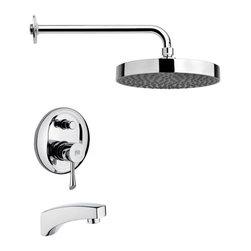 Remer - Polished Chrome Modern Tub and Rain Shower Faucet - Single function tub and shower faucet.