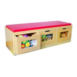 A+ Childsupply Bench Storage Unit - 3 Drawer - About A+ Child Supply, Inc.For over 10 years, A+ ChildSupply has been supplying high quality products for use in schools, daycares and homes. Their design team has developed an extensive series of preschool furniture with safety, durability and beauty as top priorities. Every product built in their factory undergoes an extensive battery of tests and is compliant with all laws and regulations as set forth by the CPSC (Consumer Products Safety Commission) and is also compliant with European standards of EN-71. Each product is designed with protective corners and edges, moisture- and stain-resistant finishes, durable construction methods, environmentally friendly wood, renewable resources, innovation and superior quality and value.