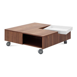 DomItalia Furniture - Roy Square Coffee Table in Walnut and White - Designed by Jan Sabro, the Roy Square Coffee Table in Walnut and White will ideally suit your surroundings and if you are looking for something unique, you found it!