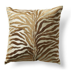 Frontgate - Embroidered Tigress Throw Pillow - Fabric woven of 100% cotton. Decorative design on pillow front. Feather/down insert. Zippered closure for easy care. Dry cleaning recommended. A vibrant tiger-stripe design, embroidered using a bronze sateen thread, makes the Tigress Decorative Pillow an exotic, dimensional accent piece. With a feather/down insert and knife-edge finish, this makes a vibrant addition to a chair, sofa or bed. . . . . . Imported.