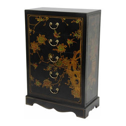 Oriental Furniture - Black Lacquer Five Drawer Chest - This petite chest of drawers has been finished in a medium gloss black lacquer. It has been hand-painted with a delicately rendered birds and flowers art motif along the top, sides, and drawer faces. Use as a miniature lingerie or glove chest, or as a lamp table next to a sofa or bed.