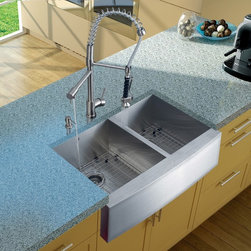 Vigo Industries - Platinum Farmhouse Stainless Steel Kitchen Sink with Strainers - Includes stainless steel kitchen sink, stainless steel kitchen faucet, two matching grids, two strainers and stainless steel soap dispenser and all mounting hardware