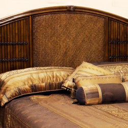 Hospitality Rattan - Polynesian Twin Headboard in Antique Finish ( - Choose Size: TwinMade of Wood Frame & Woven Wicker . Finished in Antique Color. Durable, yet elegant construction. Fully assembled. Wood frame construction. Tropical island style design. Twin: 2 in. L x 43 in. W x 54 in. H (17 lbs.). Queen: 65 in. W x 2 in. D x 54 in. H (35 lbs.). King: 83 in. W x 2 in. D x 54 in. H (50 lbs.)This Polynesian bedroom collection is one of our fine rattan and bamboo sets. The great looking tropical wicker bedroom set. In addition metal glides are used on all the case good pieces. Glass is not included.