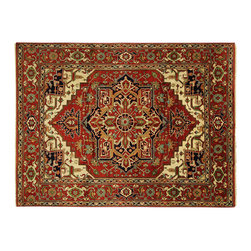 Manhattan Rugs - Traditional Fire Brick Red Hand Knotted Heriz Serapi Wool Area Rug H6404 - Heriz is situated in the northwestern part of Iran (Persia).  Though the term covers Hand knotted rugs of numerous small villages in the area, the most beautiful Rugs were woven in Heriz itself For the last 100 years, the Heriz carpet designs have basically remained the same, with only small variations in color pallets and density of the design. The late 19th Century Rug (so called Serapis) was of fewer details and softer colors and with time designs became denser with added jewel tone color pallets. The revival of the carpet industry in the late 19th Century was based on the demand of the Western markets, with America in particular. Weavers in Heriz hand knotted were asked to make carpets inspired by the Fereghan Sarouks of higher cost for consumers of more limited budgets. Even though Sarouk carpets changed style later on, Heriz weavers stayed with the geometric pattern till now.  However, Heriz was also a center of production of some of the best handmade carpets with both geometric and curvilinear floral patterns.  A special heirloom wash produces the subtle color variations that give rugs their distinctive antique look