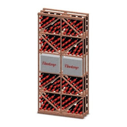 Vinotemp - Double Diamond and Case Bin Combo Wine Rack - Floor standing. Made from premium redwood. Fits 132 bottles. 33.37 in. W x 12 in. D x 73.37 in. H (65 lbs.). Assembly required. Made in USA. Custom made: 8 to 10 weeks lead time. Four diamond bins on top racking. Two traditional 12 bottle bordeaux cases in middle racking. Four diamond bins to display wine bottles on bottom racking. Hand made. Completely customizable. WarrantyThese racks are a great modular option to build your own wine room.