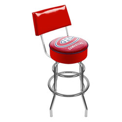 Trademark Global - Padded Bar Stool w Backrest & NHL Montreal Ca - Show your support for your favorite team and your sporty style with this chrome colored steel bar stool, featuring a padded vinyl back and seat enhanced by the officially licensed Montreal Canadiens team colors and logo. The stool would be perfect in a basement bar or game room, and would be a great gift idea for hockey fans. Adjustable levelers. Backrest for added comfort . Long lasting officially licensed NHL team logo. Great for gifts and recreation decor. 7.50 in. High padded seat. 30 in. High bar stool great for bar pub table and bars (40 in. tall with backrest). Commercial grade vinyl seat. Chrome plated double rung base. 14.75 in. W x 14.75 in. D x 40 in. H (24 lbs.)This National Hockey League Bar Stool with backrest will be the highlight of your bar and game room.