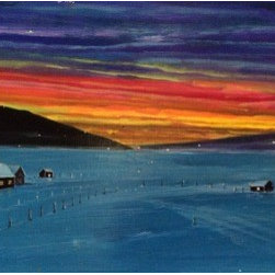 Twilight Farm (Original) by Michael Kane - I grew up in a New Jersey suburb of New York City. My parents would drive us many a Sunday to farm country. I love painting my memories of the softer sides of growing up in a big family.