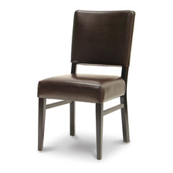 Palecek - Hudson Woven Back Café Chair, Dark Brown - Plantation hardwood frame and legs. Fully upholstered dark chocolate brown tone leather seat and inside back. Woven outside back. Available only as shown.