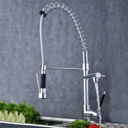 JollyHome - JollyHome Modern Single Handle LED Kitchen Faucet Pull Out - Solid brass construction with single handle.Special design with three beautiful colors.Comes with all necessary accessories for installation