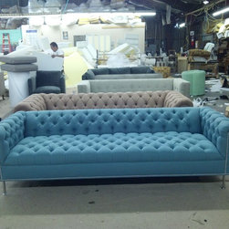 ROXY STYLE -MODERN TAKE ON A CLASSIC STYLE - The Roxy Sofa, with diamond tufting and metal legs