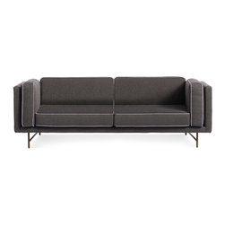"Blu Dot - ""Blu Dot Bank 80"""" Sofa, Lava/Lavender-Brass"" - ""Stately proportions, piped cushions and a generous seat depth will have you holding court. Choose either blackened metal or brass legs. Available in four fabrics options"""