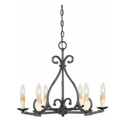 World Imports - Model 61817-42: Iron Works Six-Light Wrought Iron Chandelier - Rust - -Chain or Rod Length in Inches:120  -Wire Length in Inches: 144     -Includes: 10' Chain, 12'Wire  -Rust Finish  -Canopy: 5D  -Antiqued Candle Sleeves World Imports - 232241