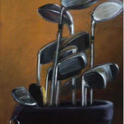 A Bag Of Golf Clubs (Original) by Viktoria Majestic - I painted this still life in my north lit studio in order to best describe my subject and create a special mood.