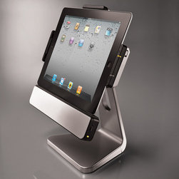 Frontgate - Rotating iPad 2 and iPad 3 Dock with Speakers - iPad can charge and sync while cradled in the stand. Specially designed to securely hold iPad 1, 2, or 3. Built-in speakers with high-energy neodymium magnets. Power and USB cables included. More than just an iPad stand, the Rotating iPad Dock is also a powerful stereo system that enhances your videos and apps. The custom-designed oval speakers deliver fantastic audio quality across the entire sonic spectrum, while the sturdy stand provides optimum viewing by rotating 360-degrees and tilting up or down.  .  .  .  .