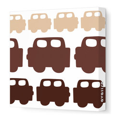 "Avalisa - Things That Go - Car Stretched Wall Art, 12"" x 12"", Brown Hue - Plain walls driving you crazy? Get on the road to colorful style with this whimsical wall art. Perfect for a kid's room, blocky cars are lined up freeway-style in your choice of colors and sizes. They're printed on stretched white fabric and hang in a snap so you can do your thing and go, go, go."