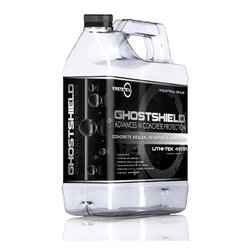 KRETETEK Industries - Concrete Sealer GHOSTSHIELD Lithi-Tek 4500 - Lithi-Tek 4500 is an industrial strength deep penetrating concrete sealer and densifier. Our unique formula penetrates up to 6 inches and the subsequent chemical reaction elicited from our formula fills the pores, capillaries and microcracks with an impenetrable crystallization. The secret to effectively sealing and densifing with Lithi-Tek 4500 is to have our sealer react with as much of the free lime and calcium present within the concrete as possible. Lithi-Tek 4500 contains a proprietary blend of enzymes and surfactants, which act as an accelerator to promote deep penetration of the material.