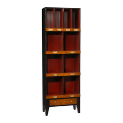 French Heritage - French Heritage Storage Unit, 6 Cubbyholes - Showcase books and collectables in a handsome order. Our clean, scholarly and attractive units bring a well tailored order to your den, home office or study.- One Drawer.- Four Large Cubbyholes.- Four Small Cubbyholes.- Cherry/Maple. - Weight: 80lbs