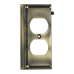 """Elk Lighting - EL-2506AB Clickplates Antique Brass End Lighting Accessory - Decorative outlet covers customizable to your receptacle configuration. """"we've got you covered"""" with the most popular models and finishes. Quality cast metal construction will add a finishing touch to your decor. Clickplates will look great in every room in your home."""