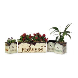 "IMAX CORPORATION - Tin Flower Planters - Set of 4 - Tin Flower Planters. Set of 4 planters in varying sizes measuring approximately 7-7.25""H x 5.75-19""W x 5.75-7"" each. Shop home furnishings, decor, and accessories from Posh Urban Furnishings. Beautiful, stylish furniture and decor that will brighten your home instantly. Shop modern, traditional, vintage, and world designs."