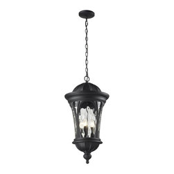 Five Light Black Water Glass Hanging Lantern - Traditional and timeless, this large outdoor chain hung fixture combines black cast aluminum hardware with clear water glass for a classic look.