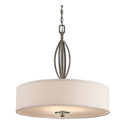 KICHLER - KICHLER Leighton Transitional Drum Pendant Light X-ZO28424 - This Kichler Lighting pendant light features a modern drum shade made from an off-white fabric and satin etched glass. From the Leighton Collection, the warm tones of the Olde Bronze finish give it a look that will compliment a variety of spaces from traditional to contemporary.