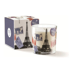 Fringe Studio - May Souvenir Candle - Inspired by Paris, this chic candle allows you to add a little French flare (and flair) into your home. Adorned with travel stamps and a lovely photo of the Eiffel Tower, this keepsake is a keeper.