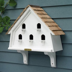 Lazy Hill Farms Flat House - Give your feathered friends a room with a view, the Lazy Hill Farms Flat House has five perches and is perfect for dressing up a garden wall, fence, or mounted on a post. This charming bird house is made of white solid cellular vinyl that has the look and feel of genuine wood without the maintenance and is topped with a detailed, redwood shingle roof. It's divided into five compartments and includes two decorative brackets.About Lazy Hill Farm Designs Lazy Hill Farm Designs is a leader in garden and birding accessories. They are known for turning exquisite designs into exceptional quality garden accessories. All Lazy Hill Farm products are made of solid cellular vinyl that looks and feels like genuine wood yet requires no maintenance. All the roofs are removable for easy cleaning and each one is handcrafted in America. These are among the finest garden accessories on the market.