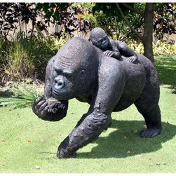Design Toscano The Lowland Gorillas Mother & Child Great Ape Statue - Add an exotic look to your landscape. The Design Toscano The Lowland Gorillas Mother & Child Great Ape Statue is a heartfelt representation of motherly love on a grand scale. Sure to make a statement in your outdoor space. This statue is realistically carved and artistically hand-painted to look like the real thing. It's carved from durable designer resin that beautifully withstands the elements.About Design ToscanoDesign Toscano is the country's premier source for statues and other historical and antique replicas, which are available through the company's catalog and website. Design Toscano's founders, Michael and Marilyn Stopka, created Design Toscano in 1990. While on a trip to Paris, the Stopkas first saw the marvelous carvings of gargoyles and water spouts at the Notre Dame Cathedral. Inspired by the beauty and mystery of these pieces, they decided to introduce the world of medieval gargoyles to America in 1993. On a later trip to Albi, France, the Stopkas had the pleasure of being exposed to the world of Jacquard tapestries that they added quickly to the growing catalog. Since then, the company's product line has grown to include Egyptian, Medieval and other period pieces that are now among the current favorites of Design Toscano customers, along with an extensive collection of garden fountains, statuary, authentic canvas replicas of oil painting masterpieces, and other antique art reproductions. At Design Toscano, attention to detail is important. Travel directly to the source for all historical replicas ensures brilliant design.