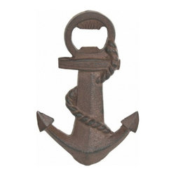 "Handcrafted Model Ships - Rustic Iron Anchor Bottle Opener, 6"" - The Iron Rustic Anchor bottle opener 6"" is the perfect addition to any nautical themed kitchen. This cast iron bottle opener will open even the most difficult of bottles with ease. This bottle opener is fully functional and a great gift for the true nautical enthusiast in your life."