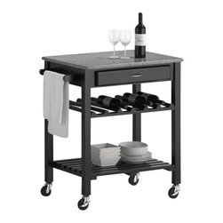 Baxton Studio - Baxton Studio Quebec Black Wheeled Modern Kitchen Cart with Granite Top - Small but cleverly designed, the Quebec Kitchen Cart serves as a small kitchen island or a stand for fresh fruits, non-perishable snacks, wines, dishes, and more!  The contemporary kitchen island features a wine rack, shelf, towel bar, and drawer with sleek silver hardware.  Most of all, you'll love the lockable wheels and gray granite top.  The unit is built with black lacquered MDF and eco-friendly rubber wood veneer and requires assembly.  To clean, wipe with a dry cloth.  Made in Malaysia.