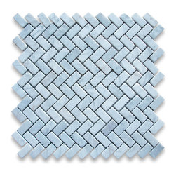 "Stone Center Corp - Carrara Marble Herringbone Mosaic Tile 5/8 x 1 1/4 Tumbled - Carrara white marble 5/8"" x 1 1/4"" pieces mounted on 12"" x 12"" sturdy mesh tile sheet"